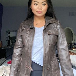 Danier Brown Leather Jacket Fits Size S-M